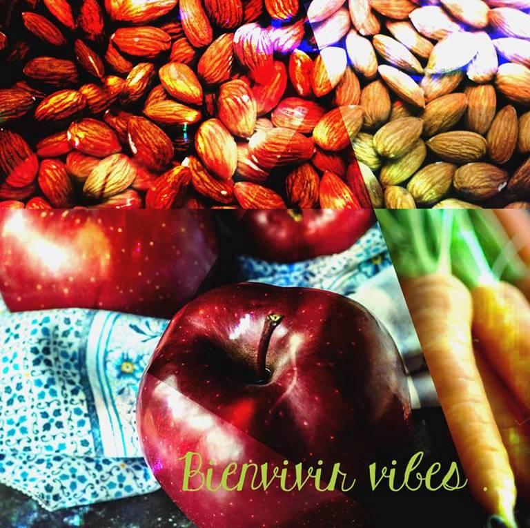 Las almendras, manzanas y zanahorias
